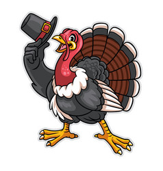 Turkey cartoon character hold the hat vector