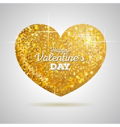 Valentine sparkle golden love heart vector image