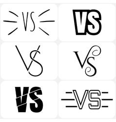 Versus letters logo Black V and S symbols vector image