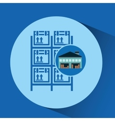 Warehouse building boxes racks vector