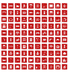 100 comfortable house icons set grunge red vector image vector image