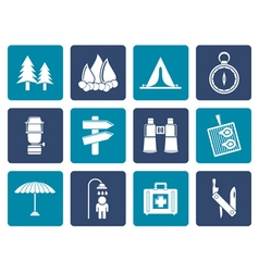 Flat camping travel and tourism icons vector