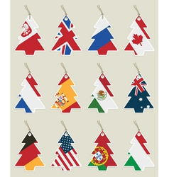 christmas tree flag tags vector image