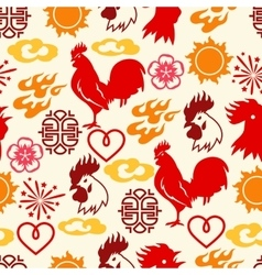 Seamless pattern with symbols of 2017 by chinese vector