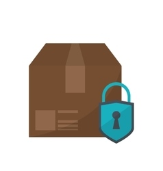 Isolated package with padlock design vector