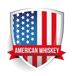American whiskey ribbon on usa flag vector