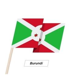 Burundi ribbon waving flag isolated on white vector