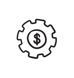 Gear with dollar sign sketch icon vector