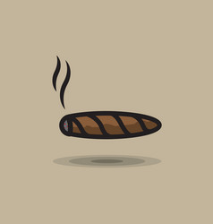 Icon smoking cigar on gray background vector