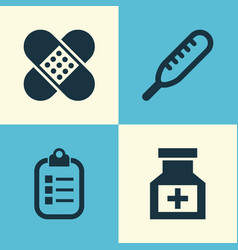 Medicine icons set collection of mark drug vector