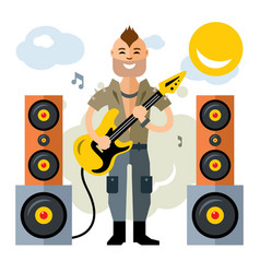Rock guitarist flat style colorful cartoon vector