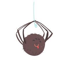 Cute cartoon hanging spider character vector