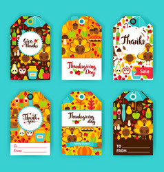 Thanksgiving day gift labels vector