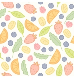 Doodle fruits and berries seamless pattern vector
