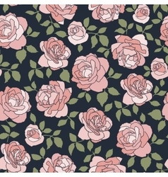 Dark seamless background with light roses vector