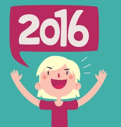 Cartoon girl celebrating the new year 2016 vector