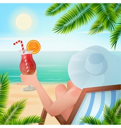 Summer tropical holiday woman with a cocktail vector