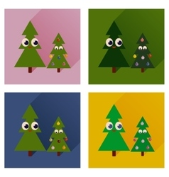 Set of flat icons with long shadow christmas trees vector