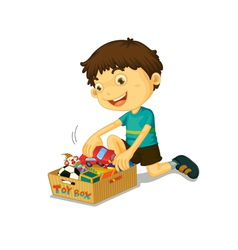 Boy with his toys vector image