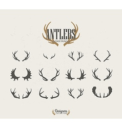 Deer antler icon set vector