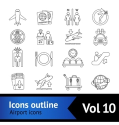 Airport Icons Outline Set vector image vector image