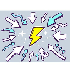 arrows point to icon of lightning on gray vector image