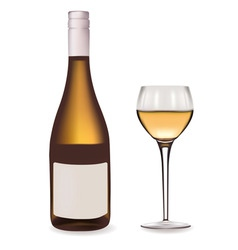 bottle of white wine and glass vector image