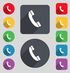 Call icon sign A set of 12 colored buttons and a vector image vector image