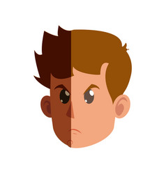 Character face head kid boy angry vector