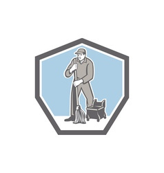 Cleaner janitor mopping floor retro shield vector