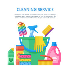 cleaning service big object set vector image