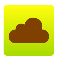 Cloud sign brown icon at vector