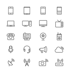 Communication device thin icons vector