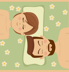 Couple having relaxing flower treatment in spa vector