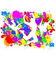Dancers on paint splats vector