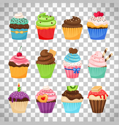 delicious cupcakes set on transparent background vector image vector image