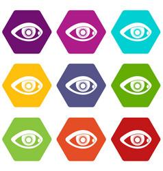 Eye icon set color hexahedron vector