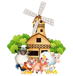 Farm animals and windmill vector