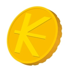 Gold coin with lao kip sign icon cartoon style vector