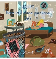 Happy new cell phone purchase day vector image