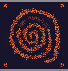 happy thanksgiving leaf spiral vector image vector image