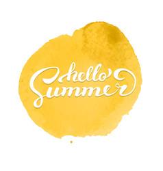 hello summer brush handwritten lettering on vector image vector image