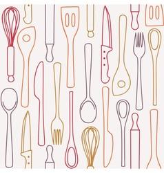 Kitchen utensils - seamless pattern vector image vector image