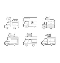 minivan icon set outline style vector image