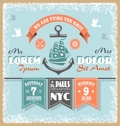 Nautical wedding invitation 2 xs vector