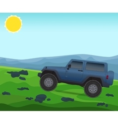Off road journey car for bad roads vector