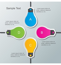 Paper bulb infographic template vector