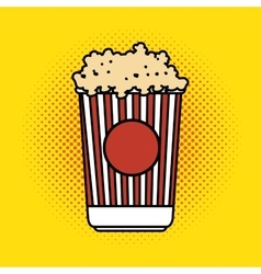 Pop corn bucket pop art design vector
