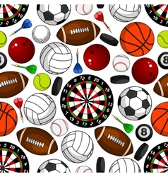 Seamless pattern with sport items vector image vector image