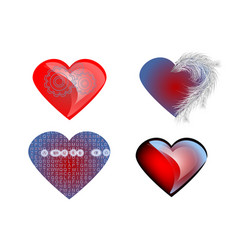 set of isolated heart vector image vector image
